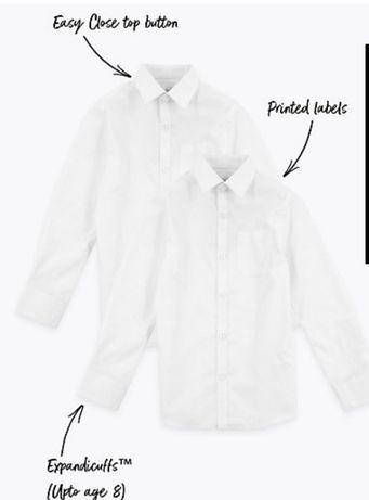 Белая рубашка сорочка біла для мальчика marksandspencer за 2шт