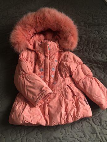 Зимняя куртка пальто парка демисезонная на девочку натуральный мех