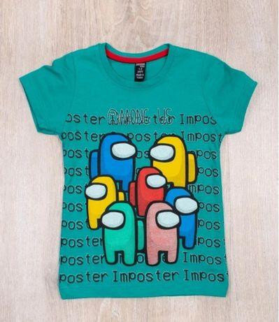Модные футболки с принтом Among Us 2021 для мальчиков хлопчик девочек