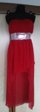 sukienka mgiełka M/L dopasowująca się, tył dłuższy,cekiny- wesele, bal