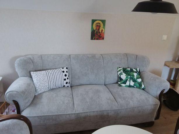 Sofa +2 fotele welur drewno porządne meble ikea wypoczynek kanapa