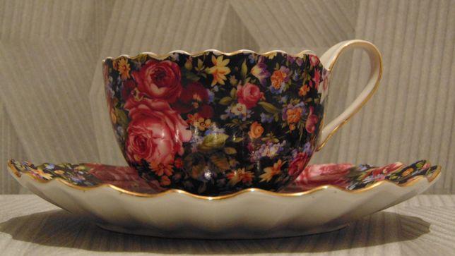 Porcelanowa filiżanka z talerzykiem - Made in China - Porcelanowe duo