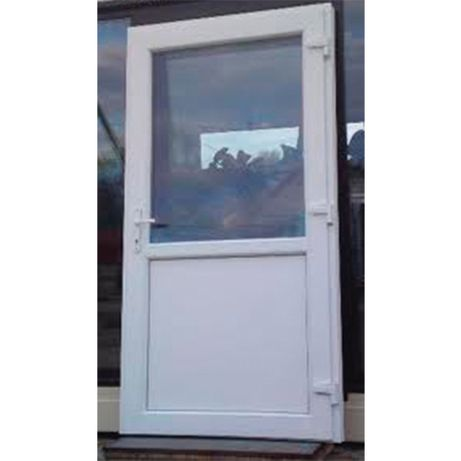 DRZWI 90x210 białe PVC sklepowe szyba NOWE zewnętrzne