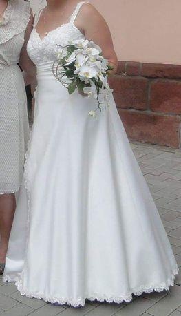 Prosta klasyczna suknia ślubna w kolorze ecru rozm. 42