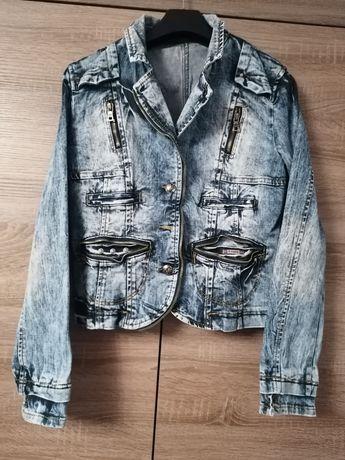 Dżinsowa kurtka katana jeansowa jeans zamek zasuwana bawełna tanio