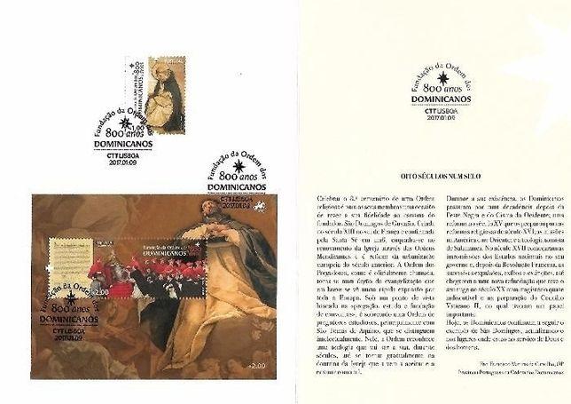 pagela selos 2017 Ordem dos dominicanos 800 anos sobrescrito 1º dia