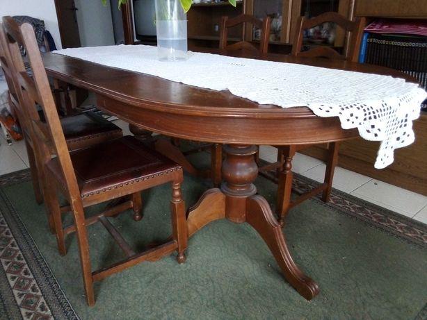 Mesa vintage extensível de madeira + 6 cadeiras