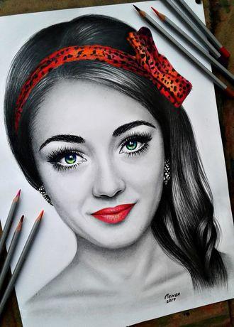 Портрет карандаш акварель масло по фото на заказ рисунок