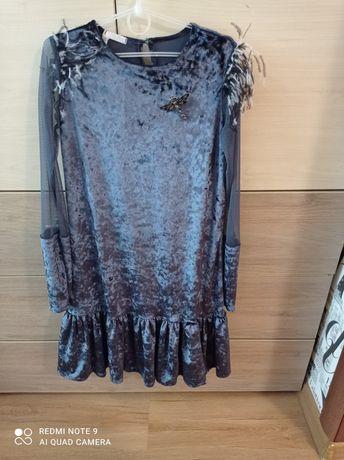 Нарядное платье . Синее, велюровое.