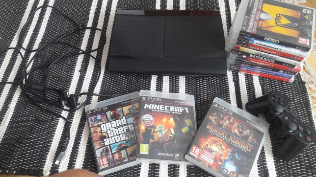 PS3 + pad + 12 gier GTA V, Minecraft