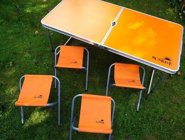 Розкладний столик чемодан з 4 стільцями 120х60см (Оранжевий)