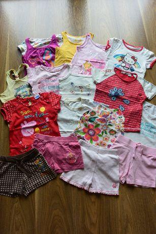 duży zestaw na lato córcia 3-4 latka bluzeczki, spodenki, aż 16 sztuk!