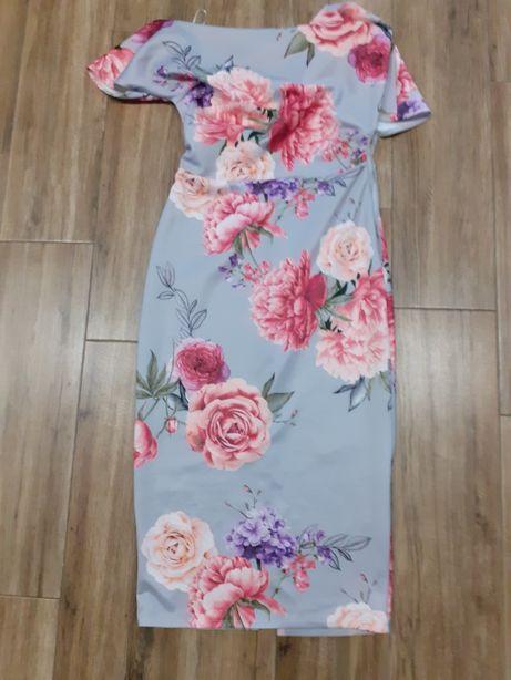 Sukienka kwiaty szara midi S asymetryczna 36
