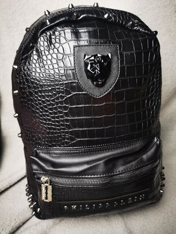 Plecak czarny skórzany Philippe Plein PP Premium Wąż Tygrys