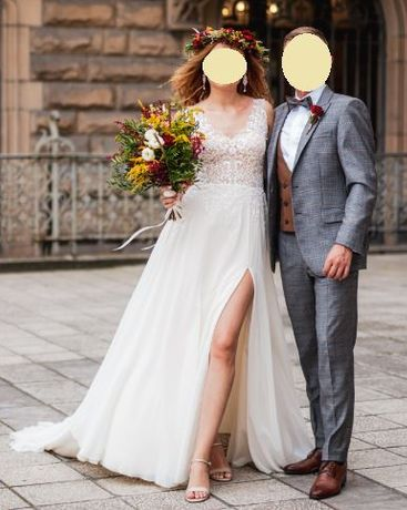 Suknia ślubna Annais Bridal boho/rustykalna z trenem r.36