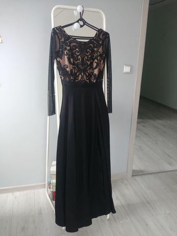 Czarna, długa sukienka na studniówkę, firma Koton, rozmiar XS 34