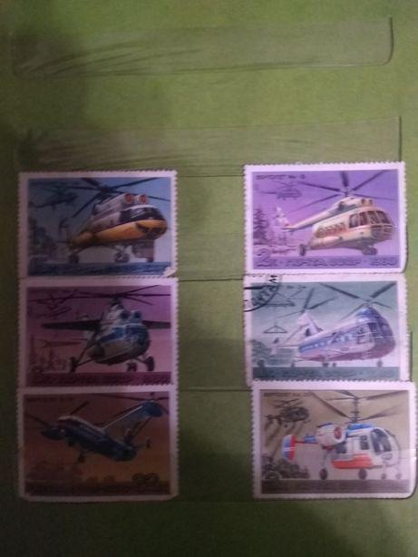 Продам почтовые марки - самолеты, вертолеты