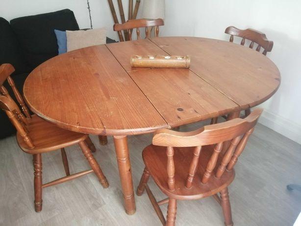 Mesa extensível e 4 cadeiras (pinho)
