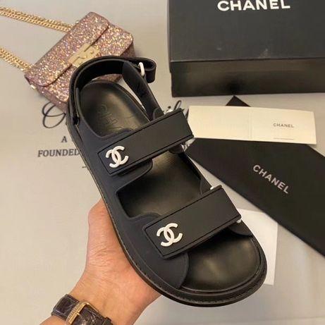 Сандалии Шанель черные Chanel каучук матовые 2020 босоножки сандали