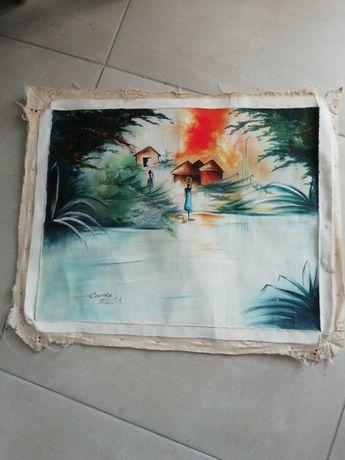Tela africana, pintada por artista local, com motivos indígenas