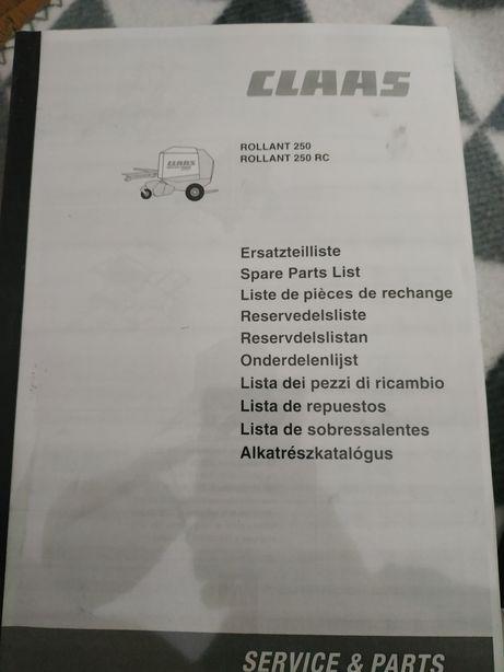 Katalog cześci prasy john deere/ class rolant 250