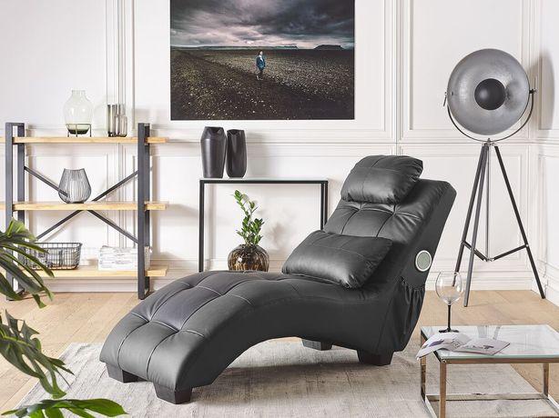 Chaise longue em pele sintética preta com coluna Bluetooth e porta USB SIMORRE - Beliani