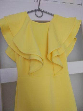 Piękna, długa, żółta suknia z falbanami, ubrana raz!na wesele, M