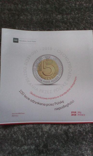 folder do monety 100- lecie odzyskania przez Polskę niepodległości