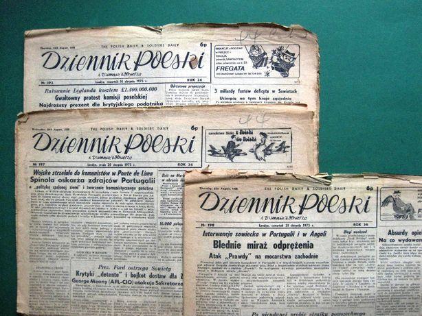 Dziennik Polski i Dziennik Żołnierza-wyd. Londyn- 1975-3 egz. +dodatki