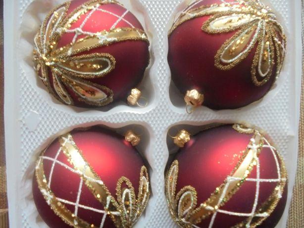 Bombki szklane 4 sztuki ręcznie zdobione
