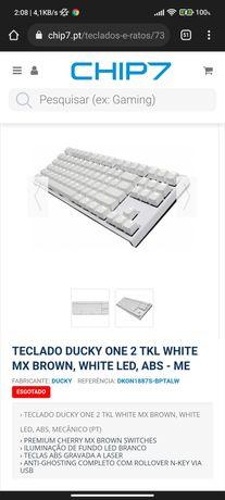 Teclado Mecânico Ducky ONE 2 TKL White MX Brown, White Led, ABS - PT