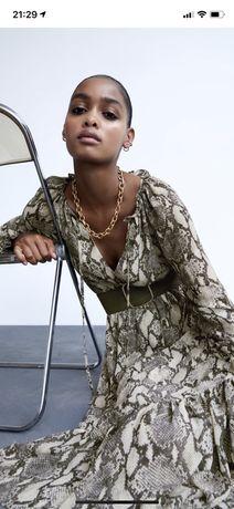 Nowa sukienka Zara w zwierzęcy print z paskiem L