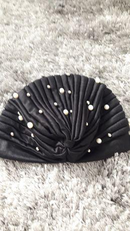Czapka czepek turban czarny z perełkami