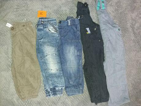Zestaw spodnie dla chłopca jeansy ogrodniczki 86