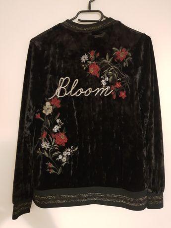 Bluza rozpinana welurowa czarna nowa