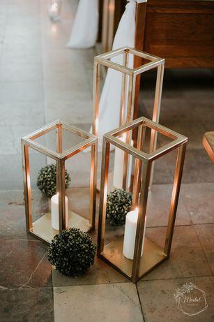 Stojaki lampiony ślubne na świece złote metalowe