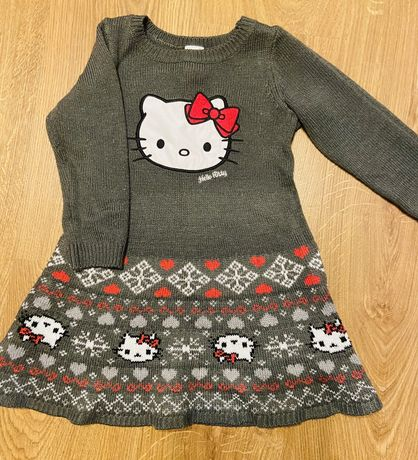 Платье теплое hello kitty