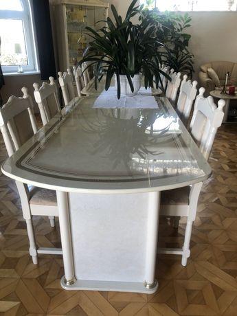 Włoski stół laminowany marmurowy beżowy kremowy krzesla połysk