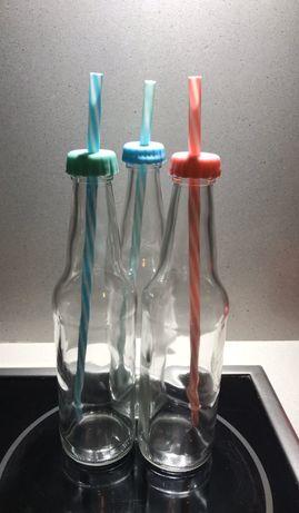 Garrafas vidro com tampa e palhinhas reutilizáveis