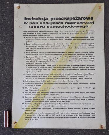 PRL Instrukcja przeciwpożarowa w hali warsztacie