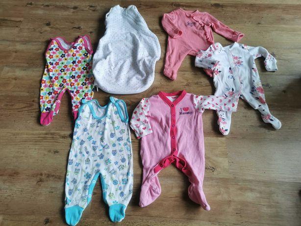 Ubranka dziewczynka 50/56 śpiworek, pajacyki, body, spodenki