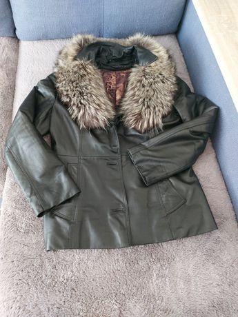 Шкiряна куртка з чорнобуркою