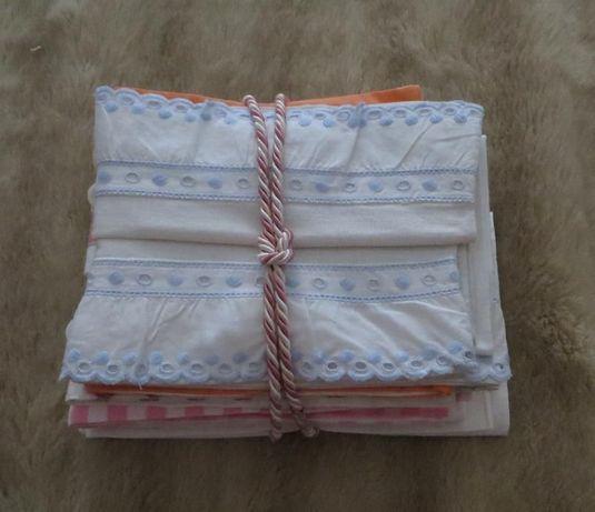fronhas p/ Almofadas berço, em algodão e linho - Lote de 8