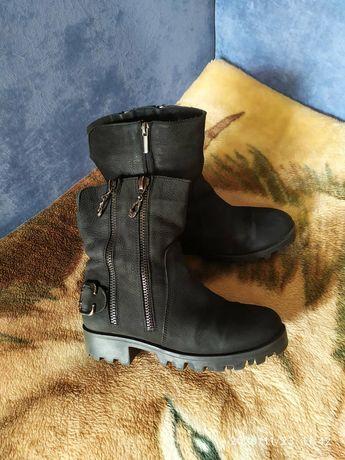Кожаные ботинки сапоги зимние 37р.