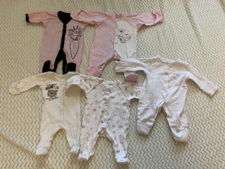 Человечки пижамы слипы на новорождённого 56 размер на девочку