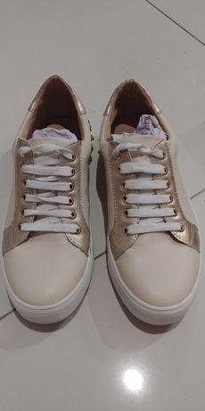 Trampki sneakersy beż złoto r.36