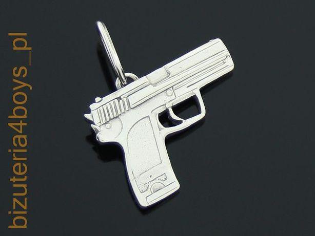 Srebrny 0,925 męski wisiorek pistolet broń palna