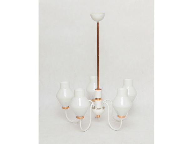 Lampa wisząca żyrandol DRUKOV vintage biało miedziana