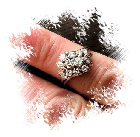 Przepiękny pierścionek złoto białe 750 z DIAMENTAMI