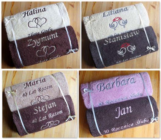 Ręcznik z napisem haftem PREZENT na ŚLUB ROCZNICĘ 10,15,20,25,30,35,50